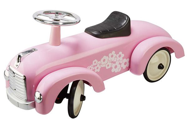 Metalen loopauto Pink Flower.